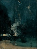 beautiful abstract painting with deep midnight blues and small specks of white like stars