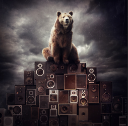 digital art piece with a bear sitting on top of a stack of speakers