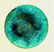 abstract painting, green watercolor circle with constellation points inside