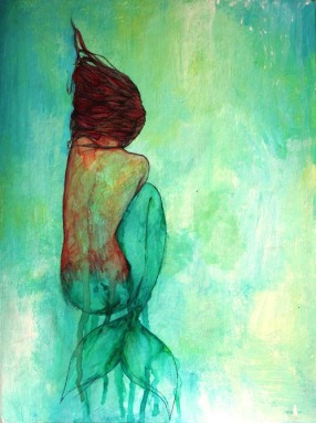 painting of a mermaid laying on the ocean floor, but rotated 90 degrees sideways