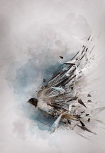 Beautiful somewhat abstract painting of a bird in flight, the wings turning into geometric shapes