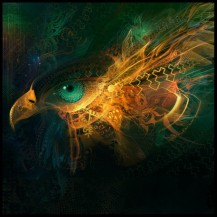 digital illustration of an eagle or hawk with beautiful patterns