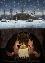 illustration of two foxes in their den eating a christmas dinner together while it snows outside