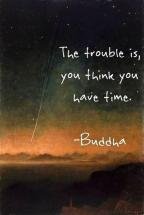"image of shooting star falling with the quote ""The trouble is, you think you have time"" by Buddha"