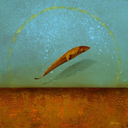 minimalist painting of floating lead on a colorful background by Brad Stroman