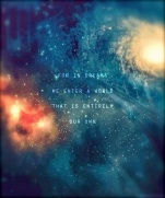 "Starry image with quote that reads ""For in dreams we enter a world that is entirely our own"""